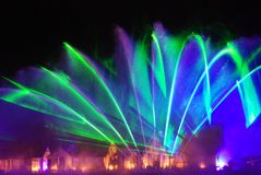 Musical fountain in Sentosa Singapore. The name of this Musical fountain with fireworks in Sentosa Singapore is the song of the sea Stock Photos