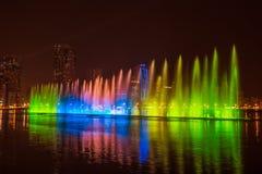 Musical fountain show Royalty Free Stock Photos