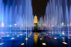 Musical Fountain Show in Xian. Musical Fountain Show in front of the Big Wild Goose Pagoda, Xian, China Stock Images