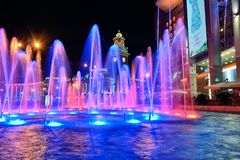 Musical fountain on the square of Kiev railway station. Russia,. Russia, Moscow. Photo 17 August 2018. Musical fountain on the square of Kiev railway station Royalty Free Stock Images