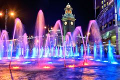 Musical fountain on the square of Kiev railway station. Russia,. Russia, Moscow. Photo 17 August 2018. Musical fountain on the square of Kiev railway station Royalty Free Stock Image
