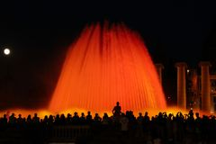Musical fountains in Spain. Colorful fountains. Royalty Free Stock Photography