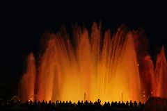 Musical fountains in Spain. Colorful fountains. Stock Images