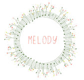Musical frame with notes and flowers Royalty Free Stock Photography
