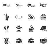 Musical genre web icons. For user interface design Royalty Free Stock Photography