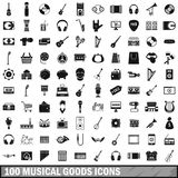 100 musical goods icons set, simple style. 100 musical goods icons set in simple style for any design vector illustration vector illustration