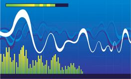 Musical graphs on blue screen Royalty Free Stock Photo