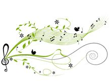 Musical green background Royalty Free Stock Image