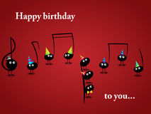 Musical greeting card. Vector musical greeting card with funny notes Stock Image