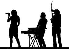 Rock group on stage one. Musical group in concert on stage on white background Stock Photos
