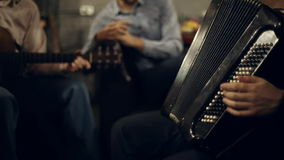 The musical group plays. The accordion and guitar in the club stock video