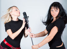 Musical group of two girls Royalty Free Stock Photography