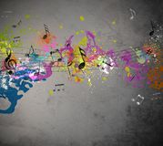 Musical grunge background. Musical grunge with spray background royalty free illustration