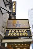 The musical Hamilton at the Rodgers Theater in New York. NEW YORK, NY - The musical Hamilton created by Lin Manuel Miranda has been playing in the Rodgers Royalty Free Stock Photography