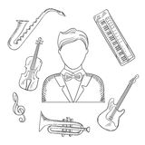 Musical hand drawn icons and objects Stock Photos