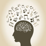 Musical head Royalty Free Stock Image
