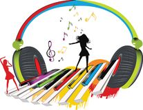 Musical headphones. With dansing girls and piano key group Stock Photo
