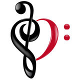 Musical heart keys. Black and red Royalty Free Stock Images
