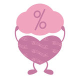 Musical heart with percent sign Royalty Free Stock Photos