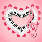 Musical heart with treble clef and fingerboard Stock Photography