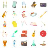 Musical hobby icons set, cartoon style. Musical hobby icons set. Cartoon set of 25 musical hobby vector icons for web  on white background Royalty Free Stock Images