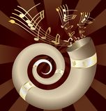 Musical horn. On an dark abstract background musical big horn Royalty Free Stock Images