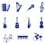 Musical icon. Illustration icons set silhouettes of musical instruments Royalty Free Stock Photos