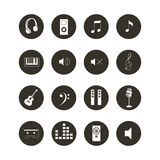 Musical Icon Set - Black and White Music Related Web Icon Collection Royalty Free Stock Image