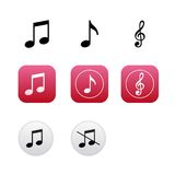 Musical icons with notes and treble clef Stock Photos