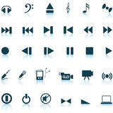 Musical icons set. Vector collection of different music themes icons Stock Photography