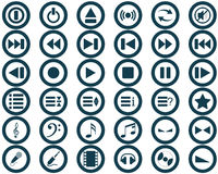 Musical icons set. Vector collection of different music themes icons Stock Photo