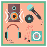 Musical icons set in flat style. Illustration Stock Photos