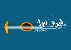 Musical illustration with concept guitar. And sailing ships Royalty Free Stock Photos