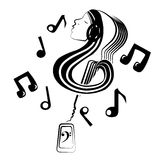 Musical inner world. Girl with musical note shape, contains a guitar surrounded by musical notes coming out of a smartphonen Royalty Free Stock Photo