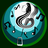 Musical inner world. Girl with musical note shape, contains a guitar surrounded by musical notes coming out of a smartphonen Stock Photo