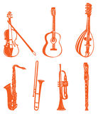Musical instrument. Illustration drawing of violin and guitar,trumpets Stock Illustration