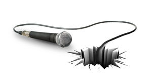Musical instrument. The power of music. Musical instrument that breaks through a white floor vector illustration