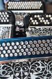 Musical instrument accordion in a shop Royalty Free Stock Photography