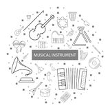 Musical instrument background from line icon. Linear vector pattern Royalty Free Stock Images
