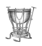 Musical instrument, bass drum vintage engraving. Machine timpani musical instrument with mechanical tension adjusting system, XIX century engraving Stock Image