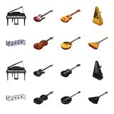Musical instrument black,cartoon icons in set collection for design. String and Wind instrument isometric vector symbol. Stock  illustration Stock Images