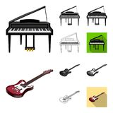 Musical instrument cartoon,black,flat,monochrome,outline icons in set collection for design. String and Wind instrument. Isometric vector symbol stock Royalty Free Stock Images