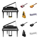 Musical instrument cartoon,black icons in set collection for design. String and Wind instrument isometric vector symbol. Stock  illustration Stock Photo