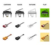 Musical instrument cartoon,black,outline,flat icons in set collection for design. String and Wind instrument isometric. Vector symbol stock  illustration Royalty Free Stock Photos