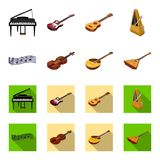 Musical instrument cartoon,flat icons in set collection for design. String and Wind instrument isometric vector symbol. Stock  illustration Royalty Free Stock Photo