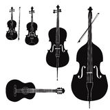 Musical instrument  collection. Music instruments  set. Stringed musical instrument silhouette on white background Stock Photos
