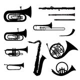Musical instrument  collection. Music wind instruments  set. Musical instrument silhouette on white background Stock Photography