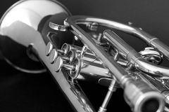 Musical Instrument-Cornet. Image of a cornet on a black background Royalty Free Stock Photos