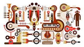 Musical instrument factory. Abstract  illustration. Isolated on white background Royalty Free Stock Images