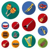 Musical instrument flat icons in set collection for design. String and Wind instrument vector symbol stock web. Musical instrument flat icons in set collection Stock Photography